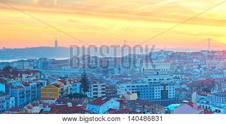 Lisbon Panorama At Sunset, Portugal