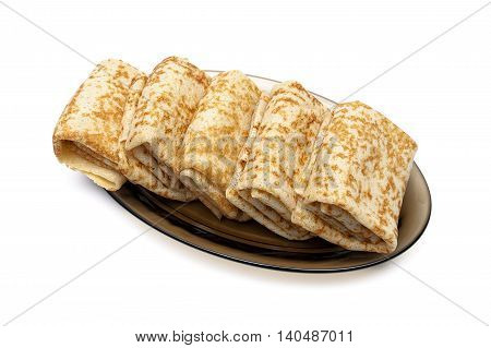 pancakes on a plate isolated on white background. horizontal photo.