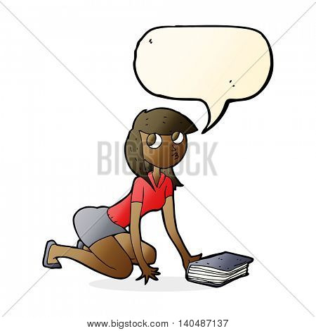 cartoon girl picking up book with speech bubble