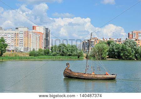 Kazan, Tatarstan, Russia - July 29, 2016. Novo-Savinovsky City District. Kazanka river.