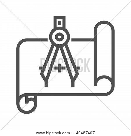 Blueprint with compass thin line vector icon on white background.