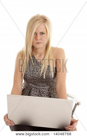 Woman Puzzled At Computer