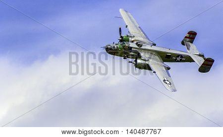 Winston Salem, North Carolina USA.  August 13, 2015.  World War 2 B-25 Bomber Flyby