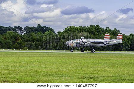 Winston Salem, North Carolina USA.  August 13, 2015.  World World 2 B-25 Bomber Getting Ready For Takeoff
