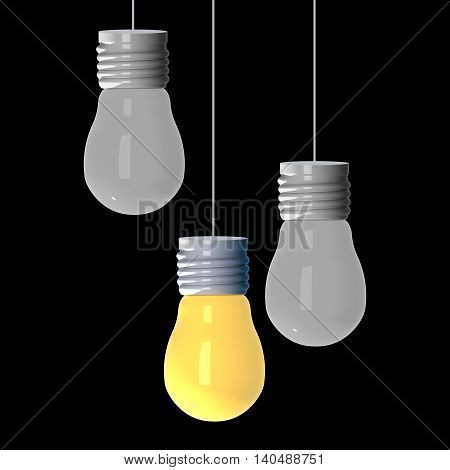 Idea concept 3D rendering light bulbs that glowing among the others on black background.