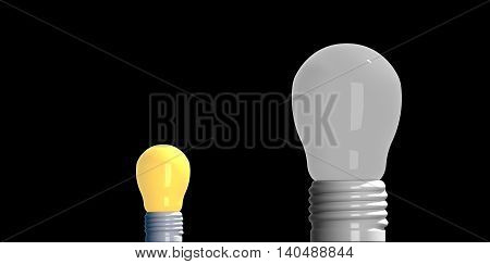 Idea concept 3D rendering light bulbs that small glowing among the others on black background.