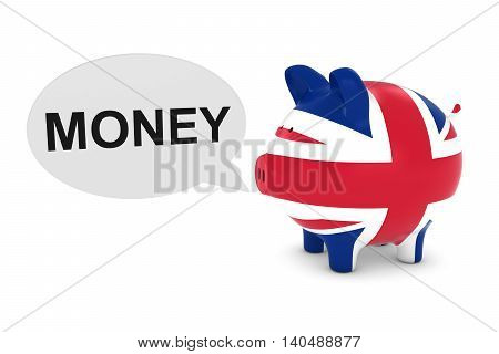 Uk Flag Piggy Bank With Money Text Speech Bubble 3D Illustration