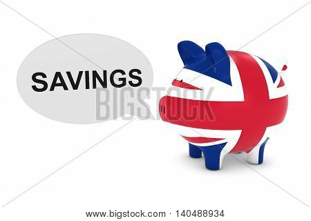 Uk Flag Piggy Bank With Savings Text Speech Bubble 3D Illustration
