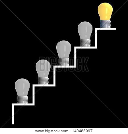 Idea concept 3D rendering step of light bulbs on black background.