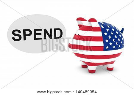 Us Flag Piggy Bank With Spend Text Speech Bubble 3D Illustration