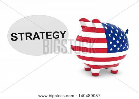 Us Flag Piggy Bank With Strategy Text Speech Bubble 3D Illustration