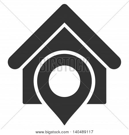 Realty Location icon. Vector style is flat iconic symbol with rounded angles, gray color, white background.