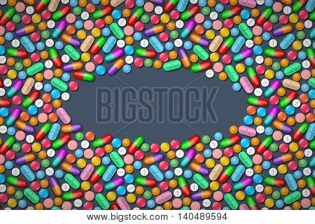Medical background with colored tablets and pills; with copy-space at center