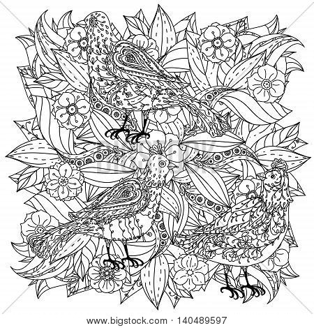 contoured mandala shape flowers and birds for adult coloring book in zen art therapy style for anti stress drawing. Hand-drawn, retro, doodle, vector, mandala style, for coloring book or poster design