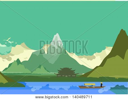 vector illustration of an old Buddhist temple on the banks of the river in the highlands of the boat floats down the river