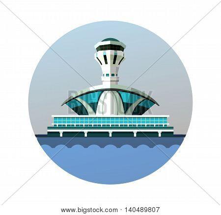 vector emblem round shape design element the airport building