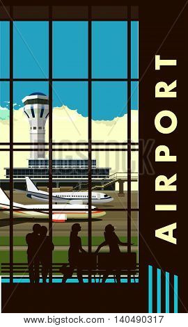 vector illustration of the airport building waiting room large picture window people silhouettes vertical poster