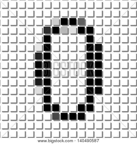 Zero. Simple Geometric Pattern Of Black Squares In Number Zero