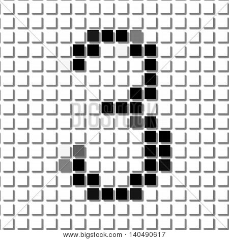 Three. Simple Geometric Pattern Of Black Squares In Number Three