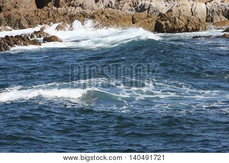 This is an image of the incoming tide taken at Point Lobos State Reserve in Carmel, California, U.S.A.
