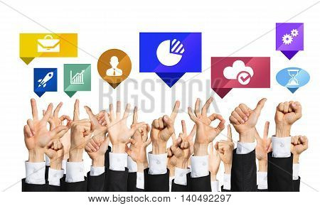 Many hands of businesspeople showing different gestures isolated on white