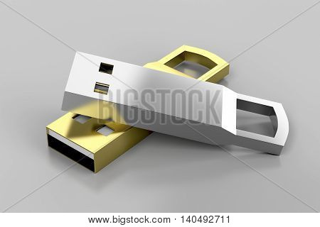 Stylish silver and gold colored usb flash drives, 3D illustration