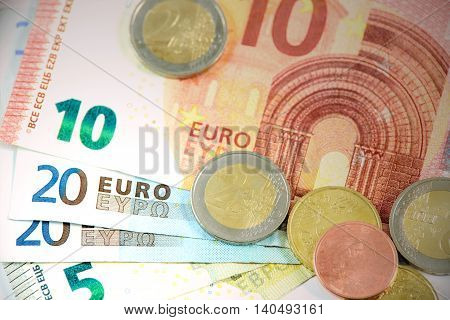 Different types of coins and banknotes European currency