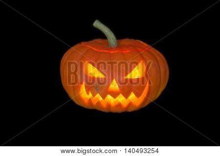 Frightening Jack - o' - lantern pumpkin celebrates Halloween