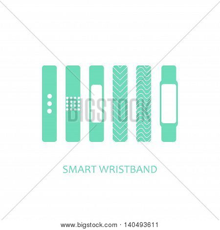 Smart wristband bracelet icon set. Vector illustration of wearable technology device modern fitness gadget