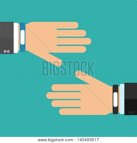 Two hands in business suits with smart wristband bracelet. Vector illustration of wearable technology device modern fitness gadget