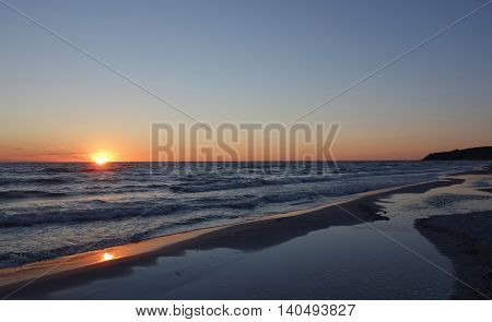 Sunset at the beach on Hiddensee island Germany