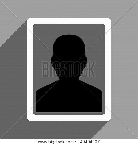 User Portrait long shadow glyph icon. Style is a flat black and white symbol on a gray square background. Dark-gray shadow is directed to left-down.