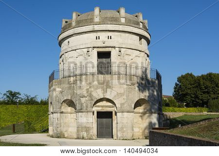 RAVENNA,ITALY-AUGUST 21,2015:mausoleum of Theodoric in Ravenna-Italyduring a sunny day.