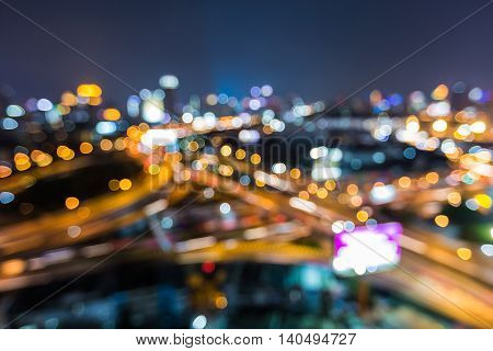 Abstract blurred bokeh city road interchanged night view