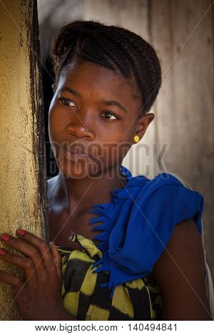 Yongoro Sierra Leone - June 03 2013: West Africa the village of Yongoro in front of Freetown portrait of young girl