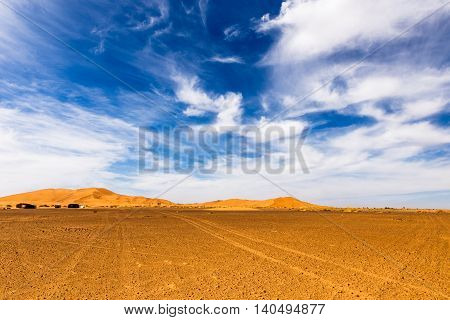 dune erg Chebbi in the blue sky, Morocco