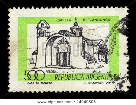 Argentina - CIRCA 1978: A stamp printed in Argentina shows Chapel Candonga in the Sierras Chicas of the Province of Cordoba , Argentina, series, circa 1978