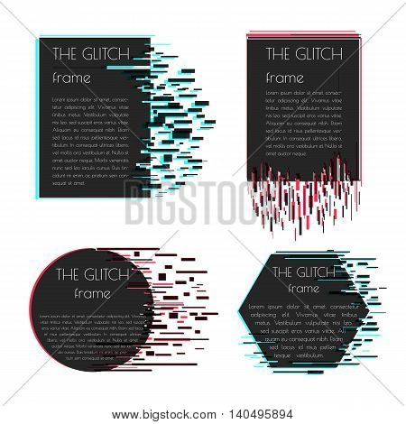 Vector frame for text with glitch effect. Abstract vector shape with glitch effect. Can be used in web design packaging design design of covers and banners. Vector illustration.