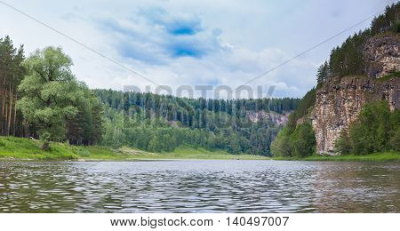 I Rock On The Bank Of A Small River Close To The Forest. Ai River, Ural, Rosiiya
