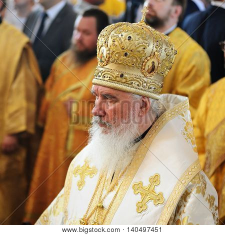 Orel Russia - July 28 2016: Russia baptism anniversary Divine Liturgy. Russian Orthodox church bishop in mitre and mantle closeup