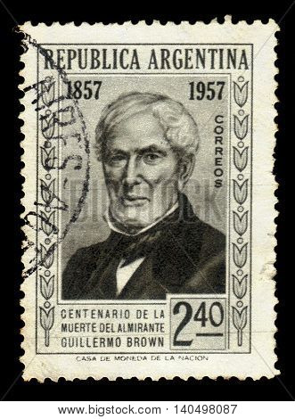 ARGENTINA - CIRCA 1957: a stamp printed in the Argentina shows Guillermo Brown, admiral of Argentina, circa 1957