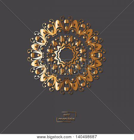 Ornamental golden flower mandala on grey color background. Ethnic vintage pattern. Indian asian arabic islamic ottoman motif. Vector illustration.