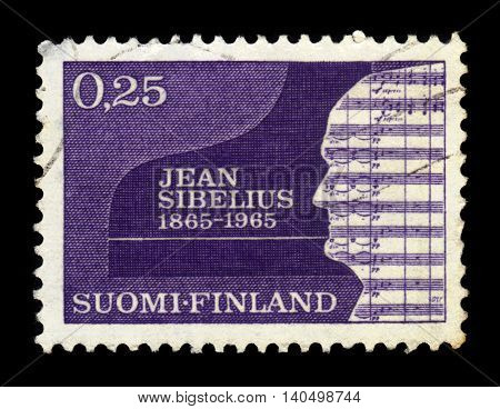 FINLAND - CIRCA 1965: a stamp printed in Finland shows silhouette of Sibelius, Jean (1865-1957), composer, 100th birth day,circa 1965