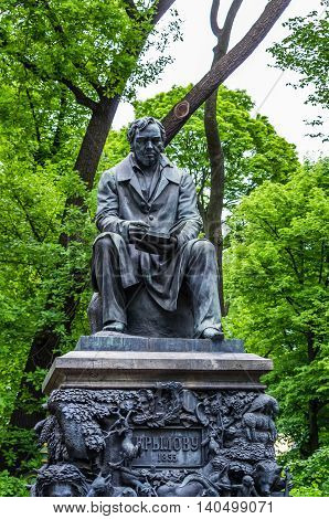 View on Ivan Krylov statue in Summer garden in Saint-Petersburg