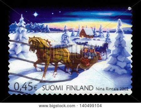 FINLAND - CIRCA 2002: a stamp printed in Finland shows winter sleigh, Christmas in Finland, series christmas, circa 2002