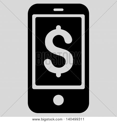 Mobile Balance icon. Glyph style is flat iconic symbol with rounded angles, black color, light gray background.