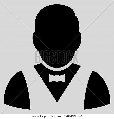 Waiter icon. Glyph style is flat iconic symbol with rounded angles, black color, light gray background.