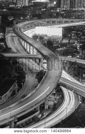 Black and White, Close up interchanged city highway, long exposure