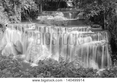 Black and White, Beauty Waterfall in deep forest national park of Thailand