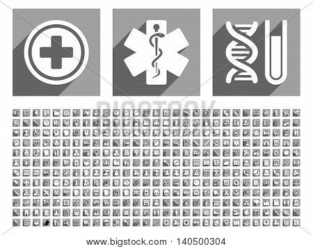 Medical glyph icon set with 348 items. Style is flat white symbols with long shadow on gray square backgrounds.